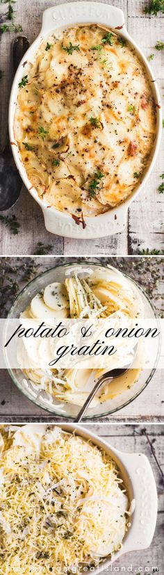 French Potato and Onion Gratin ~ this quintessential fall side dish is rustic and easy enough for a family dinner, but indulgent enough for the holidays