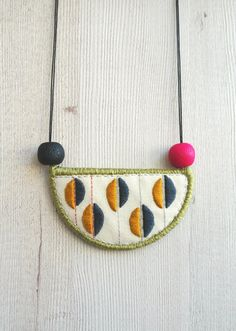 Bib necklace embroidery necklace textile necklace by Perrrce