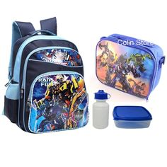 Transformers Backpack Lunch Bag and Food & Drink Containers