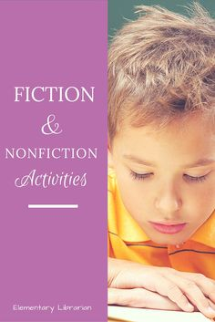 Free Fiction and Nonfiction activities for the school library! Get more school library ideas at http://elementarylibrarian.com
