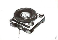 Record player - Artist, Painter, Illustrator, Stine Hvid, Illustration, Abstract, Pop Art, : www.artunika.com / www.artunika.dk
