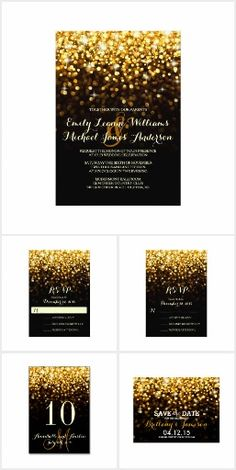 WEDDING COLLECTION Hollywood Glitz Gold & Black Elegant Sparkle Glam Invitations, RSVP, Save The Date Cards and more!  #wedding #hollywood #glam #gold #black