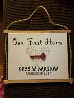 Repurposed wood, rustic, DIY, shabby chic, love, new home, canvas, personalized sign, home decor, first home, key, address sign #DIYHomeDecorCanvas