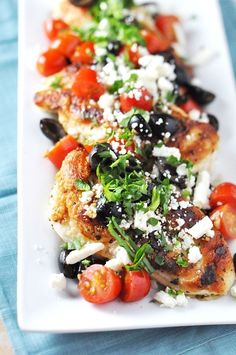 Yield: 4 Servings Ingredients: 1 pint cherry or grape tomatoes, halved 1/3 cup pitted Kalamata olives 4 ounces feta cheese, coarsely crumbled (1 cup) 1/2 cup fresh mint leaves 2 to 3 tablespoons olive oil Coarse salt and ground pepper 1 1/2 pounds thin chicken cutlets (