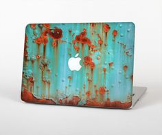 """The Teal Painted Rustic Metal Skin Set for the Apple MacBook Pro 15"""" with Retina Display"""