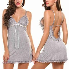 Avidlove Sexy Lingerie Women Chemise Lace Babydoll Full Slip Sleepwear Dress Gray Large -- Find out more about the great product at the image link. Lingerie Babydoll, Jolie Lingerie, Lace Babydoll, Lingerie Dress, Women Lingerie, Sexy Lingerie, Lingerie Slips, Chemise Dress, Lingerie Sleepwear