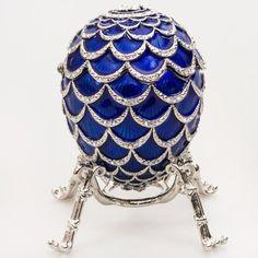 Pine Cone Blue Faberge Egg Box, Limited Ed.