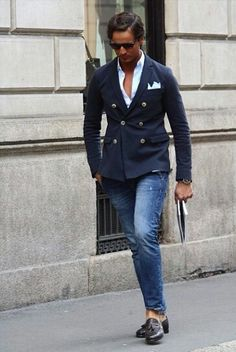A double breasted suit jacket is on trend and always should be on the must-have list! Dressed causal as shown with jeans and a sexier billionaire look one button more undone! BAM