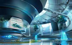 sci fi lounge, James Strehle on ArtStation at… Spaceship Interior, Futuristic Interior, Futuristic City, Futuristic Technology, Futuristic Design, Futuristic Architecture, Floating Architecture, Parametric Architecture, Drawing Architecture