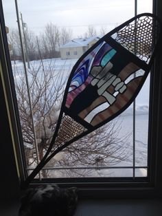 Snowshoe stained glass piece -hand drawn pattern