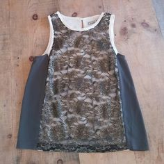 Dressy sleeveless top Ivory and gray top with a black lace and gold overlay. Never been worn Chloe K Tops Tank Tops