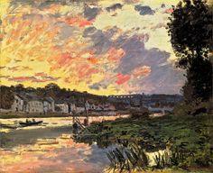 The Seine at Bougival in the Evening ~ Claude Monet Claude Monet, Edouard Manet, Pierre Auguste Renoir, Smith College, Northampton Massachusetts, Massachusetts Usa, Edgar Degas, Monet Paintings, Impressionist Paintings