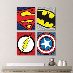 Superhero Logo Quad Print Set - Art. Decor. Nursery. Boy. Superman Flash Batman. Captain America Toddler. Kid - You Pick the Size (NS-439)