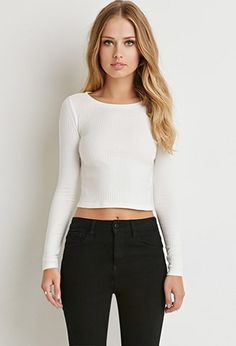 bd34a8fc958 FOREVER21 Women s Cream Ribbed Knit Crop Top. STYLE Style Deals -