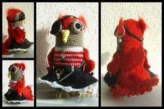 I bought the pattern for this Pirate Owl from a designer called Tamara Nowack @ www.nowacrochet.etsy.com. and my daughter asked me to make a female version for a friend of hers, so that's what I did.  I didn't make a peg-leg for her, I added a felt pupil for the eye, instead of the bead suggested, and I added a skirt, instead of trousers, but otherwise I followed the pattern :)