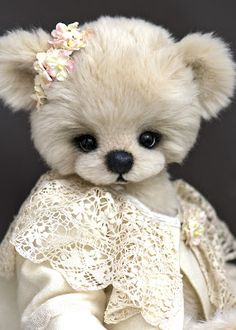 Beautiful ~ by: Three O Clock Bears ~ Love her lace collar and flowers~❥