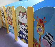 Hippo Cubicles - 'Smile for the Camera' Material - Melamine Faced Board (MFC) Colours - Blue and Yellow Kindergarten Interior, Kindergarten Design, Daycare Design, School Design, Ecole Design, Preschool Decor, Kids Toilet, School Bathroom, Kids Indoor Playground