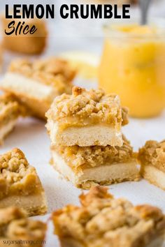 This Lemon Crumble Slice is zesty and bright and one of the most delicious lemon curd desserts. With a shortbread base and crunchy crumble topping, this lemon slice is easy to make too. World Cuisine Lemon Curd Dessert, Lemon Desserts, Lemon Recipes, Baking Recipes, Grandma's Recipes, Orange Recipes, Delicious Recipes, Brownie Recipes, Cookie Recipes