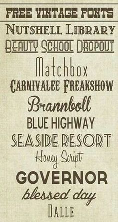 Free Vintage Fonts ~ Great for heritage page titles and journaling! - Over The Big Moon Fancy Fonts, Cool Fonts, Pretty Fonts, Schriften Download, Font Gratis, Typographie Fonts, Computer Font, Retro Font, Retro Logos