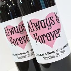 Bridal Shower Favor Or Bachelorette Always And Forever Mini Wine Champagne Labels With Big Heart Custom Bottle