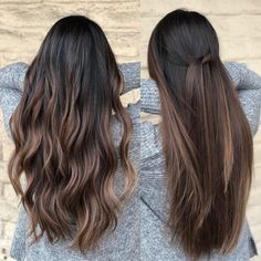 Straight knot VS beach Wave 8 Hours color and cut by Andrew Mager. - Straight knot VS beach Wave 8 Hours color and cut by Andrew Mager… -… Straight knot VS beach Wave 8 Hours color and cut by Andrew Mager… – Brown Hair Balayage, Hair Color Balayage, Balayage Hair Brunette Straight, Straight Ombre Hair, Balayage Ombre, Brunette Ombre, Bayalage Black Hair, Brunette Hair Colors, Ombre Hair Color For Brunettes