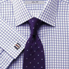Blue twill grid check slim fit shirt | Men's dress shirts from Charles Tyrwhitt | CTShirts.com