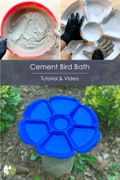 Cement bird bath video and written tutorial, step by step. Come see how to make this this cute homemade bird bath using cement and a cheap dollar store bowl as the mould. Step by step tutorial. Concrete Crafts, Concrete Projects, Diy Projects, Concrete Art, Garden Projects, Project Ideas, Diy Design, Fast Setting Concrete, Concrete Bird Bath