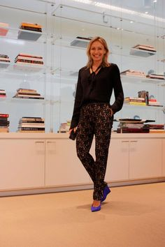 Lubov Azria- Love the shirt and the heels but not a fan of the pants with this outfit