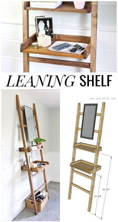 Build a leaning shelf with a mirror for a narrow entry space or as a standing vanity. Includes free plans from Ana White. Build a leaning shelf with a mirror for a narrow entry space or as a standing vanity. Includes free plans from Ana White. Diy Furniture Plans, Woodworking Furniture, Home Furniture, Rustic Furniture, Office Furniture, Painted Furniture, Modern Furniture, Easy Woodworking Projects, Woodworking Plans