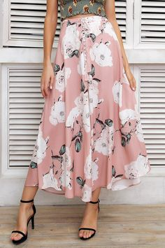 Floral Boho Print Button Tie Up Maxi Skirt