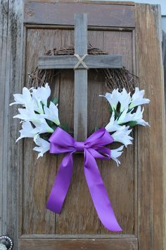 Items similar to Easter Wreath: Cross Wreath; Burlap Easter Cross Door Hanger, Purple Cross Wreath with Lily Center on Etsy Cross Wreath, Diy Ostern, Easter Projects, Easter Ideas, Easter Cross, Spring Crafts, Easter Party, Easter Table, Easter Eggs