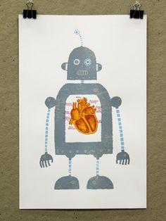 robot heart screenprint