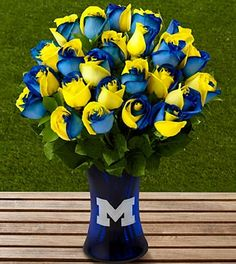 Michigan Wolverines Tournament of Roses Bouquet - for a friends U of M themed wedding