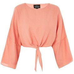 TopShop Petites Knot Front Top ($55) ❤ liked on Polyvore featuring tops, peach, petite tops, topshop tops, peach top, summer tops and petite summer tops