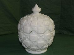 Westmoreland Milk Glass Old Quilt Covered Candy Dish: Removed