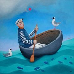 In Search of Paradise by Ailsa Black. A blank greeting card of a great explorer who set sail in simple coracle boat by Ailsa Black.