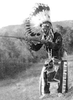 Stump Horn (Cheyenne) holds a carbine he had captured from the Battle of the Little Bighorn. Montana. (photo from 1920.)