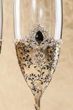 Gold Blak Wedding Champagne Glasses Black Wedding Glasses