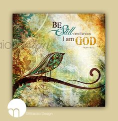 "Contemporary Christian ""Be Still and Know That I Am God"" 12 x 12 Canvas Gallery Wrap on Etsy, $49.00"