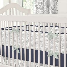 Navy and Gray Woodland Crib Bumper | Carousel Designs