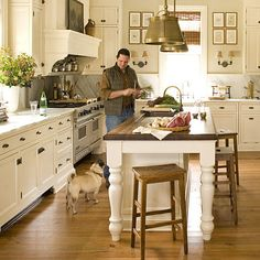 Kitchen Restoration - 110 Beautiful Kitchens - Southernliving. This kitchen, added to the 1852 house in the 1940s, once served as an outdoor hitching station. The homeowners updated the room with whitewashed cabinetry, marble countertops, and a generous island.
