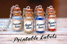 Mermaid Tears Mini Bottle Labels, Printable Labels, 1ml Bottle Labels