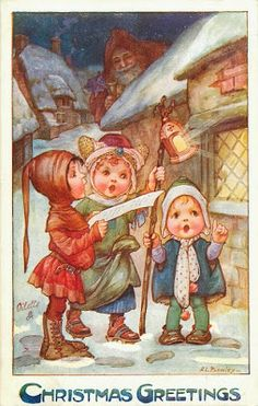 """ Christmas Greetings "" Postcard by A. L. Bowley"
