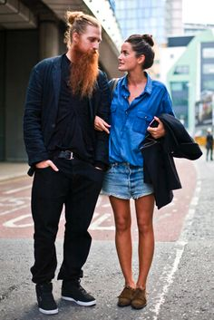 LE FASHION BLOG STREET STYLE STYLISH COUPLES BEARDS BABES LUCY CHADWICK HUSBAND DUFFY LONG BEARD CHAMBRAY BRIGHT BLUE DENIM BUTTON SHIRT CUT OFF JEANS VINTAGE DENIM MOCCASIN OXFORDS MENS STYLE VIA THE SARTORIALIST