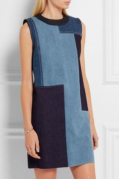 Victoria Beckham Patchwork denim mini dress Dark-blue, blue and light-blue denim Concealed zip fastening along back cotton, polyester, elastane Dry clean Made in Italy Patchwork Denim, Patchwork Dress, Sewing Clothes, Diy Clothes, Sewing Jeans, Dress Clothes, Style Année 60, Jeans Trend, Mode Jeans