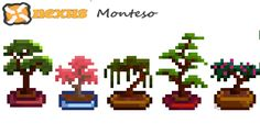 Bonsai Trees at Stardew Valley Nexus - Mods and community Cross Stitch Fabric, Cross Stitch Art, Pixel Pattern, Pattern Art, Perler Bead Art, Perler Beads, Minecraft Fan Art, Cross Stitch Quotes, Pixel Design
