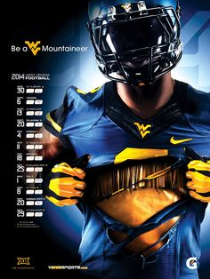 Making of the 2014 Football Poster: Watch the video for a behind-the-scenes look and download wallpaper for your desktop, tablet, or smartphone - WVU Athletics