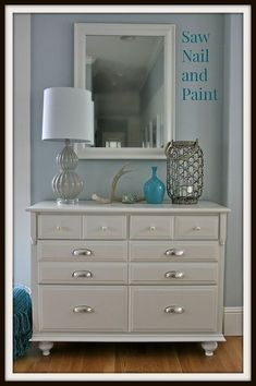 How to Add Feet to a Dresser - Before and After - This dresser got a fresh new look with paint, hardware, and the addition of new