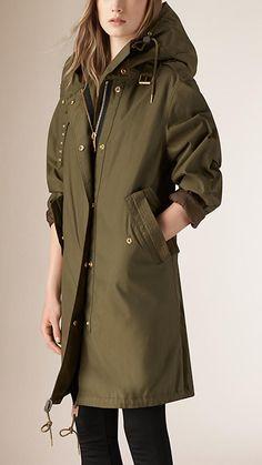 Olive Oversize Technical Parka Jacket - Image 1