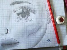 Erstes Manga Gesicht nur mit Bleistift und Radiergummi gezeichnet